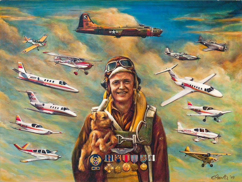 Painting of James C. Ray with Aircraft Flown Since World War II | Ray Foundation, Inc.